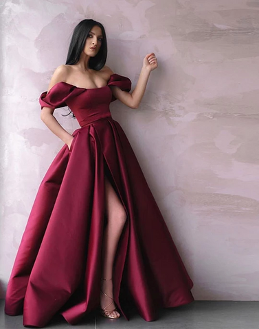 Beautiful A Line Off the Shoulder Burgundy Long Prom/Evening Dresses Split Front WED025