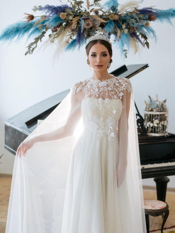 Chic A-line Ivory Tulle Applique Court Train Rustic Wedding Dress WED026