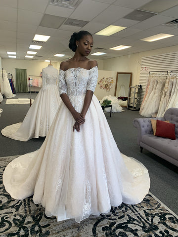Chic A-line Ivory Lace Applique Court Train Off The Shoulder Wedding Dress WED027
