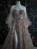 Chic Sequins Prom Dress Tulle A Line Vintage Evening Dress WED028