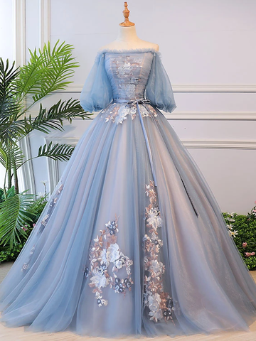 Long Sleeve Off the Shoulder Tulle Lace Appliques Ball Gown for Prom WED029