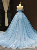 Romantic Blue Off the Shoulder Tulle Lace Appliques Ball Gown for Prom WED031