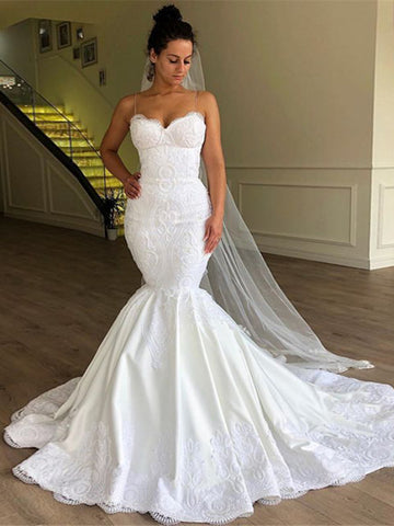 Gorgeous Mermaid Sleeveless Lace Bridal Gowns Spaghetti Straps  Wedding Dresses WED036