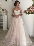 A-line Sweetheart Boho Wedding Dress Lace Romantic Wedding Dresses WEK030