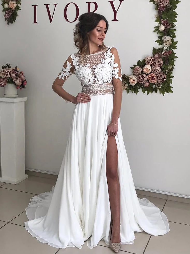 A-line Scoop Boho Wedding Dress With Long Sleeve Romantic Wedding Dresses WEK031