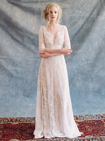 Rustic Lace V neck Beach Wedding Dress With Half Sleeve Bridal Gowns WEK036