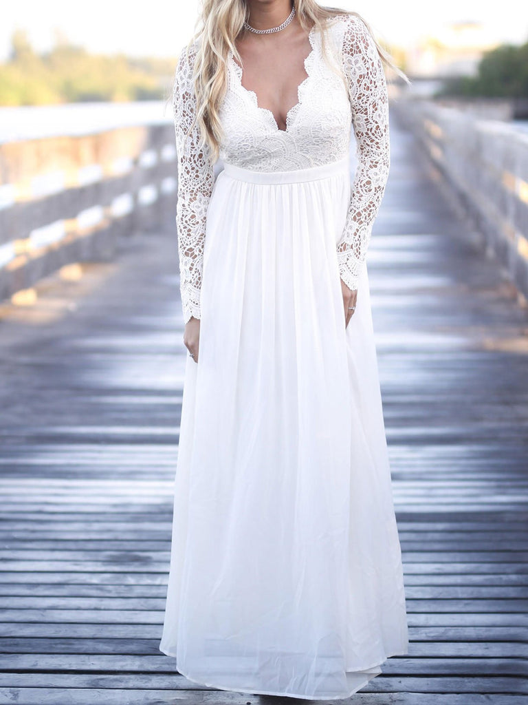 Rustic V neck Long Sleeve Beach Lace Wedding Dress Bridal Gowns WEK037