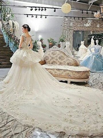 A-line Cathedral Train Lace with Flowers Royal Lace Wedding Dresses WEK041