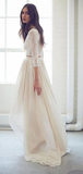 Two Piece High Low Lace Chiffon Ivory Boho Beach Wedding Dresses WEK043