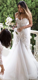 Gorgeous Mermaid Beading Lace Strapless Sweetheart Wedding Dresses WEK044
