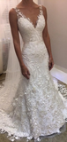 Sheath Sleeveless Backless Ivory Lace Ristic Wedding Dresses WEK045