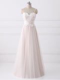 A-line Spaghetti Straps Cheap Lace Wedding Dresses WEK047