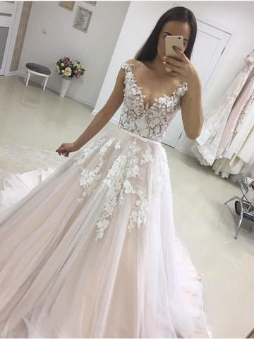 A-line Scoop See Through Applique and Lace Cathedral Train Wedding Dresses WEK048