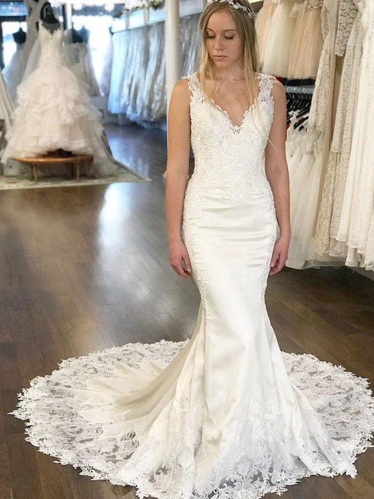 Mermaid V neck Lace Wedding Dresses Cathedral Train Wedding Gowns WEK049