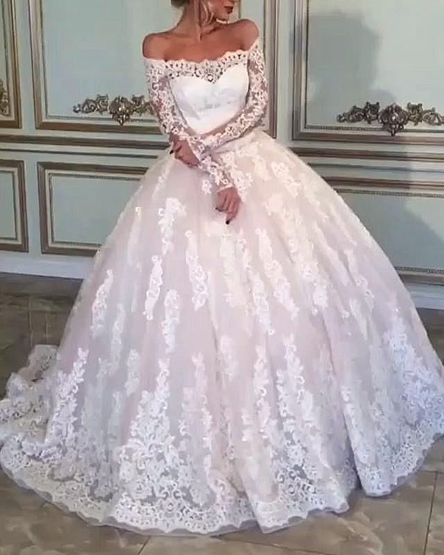 Vintage Lace Long Sleeves Wedding Dress Off Shoulder Ball Gown Bridal Dresses WEK053