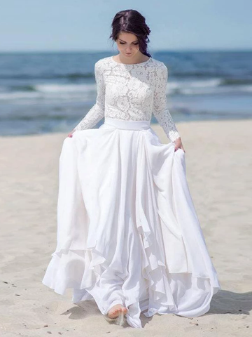 Chiffon Lace Button Long Sleeve White Zipper Wedding Dress WEK054