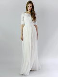 Sheath Chiffon Button Back Half Sleeve Wedding Dress With Lace And Pleats WEK055