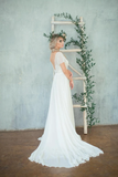 A-Line Chiffon Short Sleeve Wedding Dress With Beaded Bodice WEK057