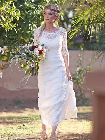Mermaid Half Sleeve Lace Wedding Dress With Cathedral Train WEK058