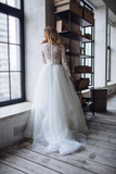 Long Sleeve V Neck Tulle Bridal Separates Top and Skirt Wedding Dress WEK059