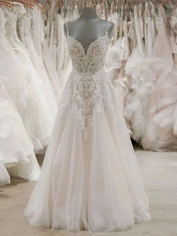 A Line Spaghetti Straps Beach Wedding Dresses Rustic Wedding Gowns WEK082
