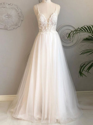 A Line Spaghetti Straps Beach Wedding Dresses Lace Wedding Gowns WEK083
