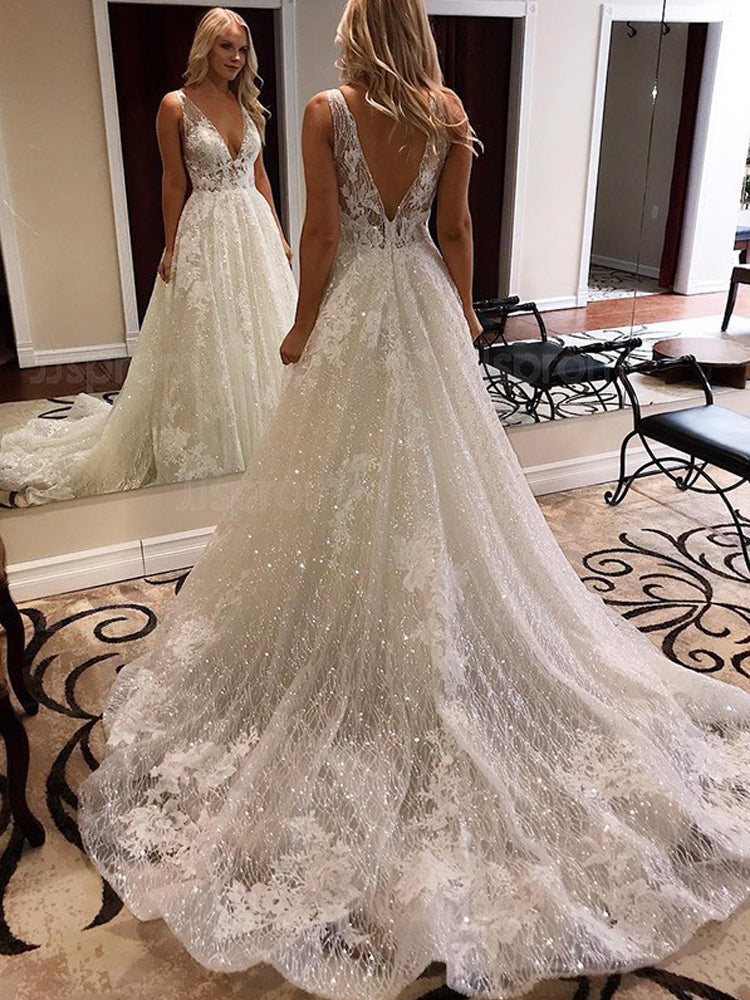 A Line V neck Sparkly Wedding Dresses Cathedral Train Lace Wedding Gowns WEK085