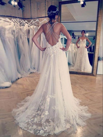 A Line Spaghetti Straps Applique Lace Wedding Dresses WEK086