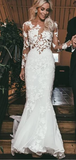 Trumpet/Mermaid Long Sleeve Lace Rustic Wedding Dresses With Applique WEK091
