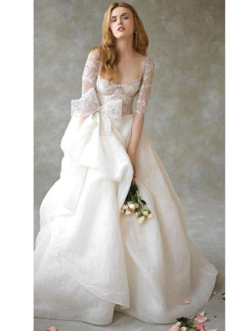 Half Sleeve Wedding Dresses Princess Bridal Dresses With Bowknot WEK099