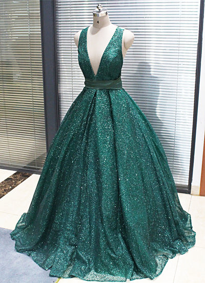 A-line V neck Dark Green Long Prom Dresses Sparkly Evening Party Dresses WEK113