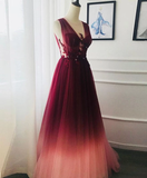 A-line V neck Burgundy Long Prom Dresses Lace Evening Dress WEK117