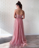 A-line Sweetheart Pink Long Prom Dresses Sparkly Evening Dress WEK119