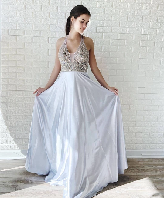 A-line Halter Silver Long Prom Dresses Beading Evening Dress WEK120