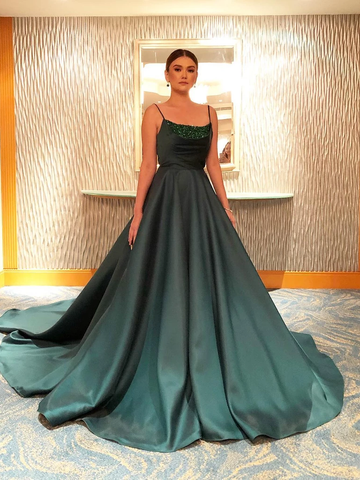 A-line Spaghetti Straps Green Long Prom Dresses Evening Dress WEK122