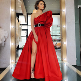 A-line One Shoulder Red Long Prom Dresses Satin Evening Dress WEK123