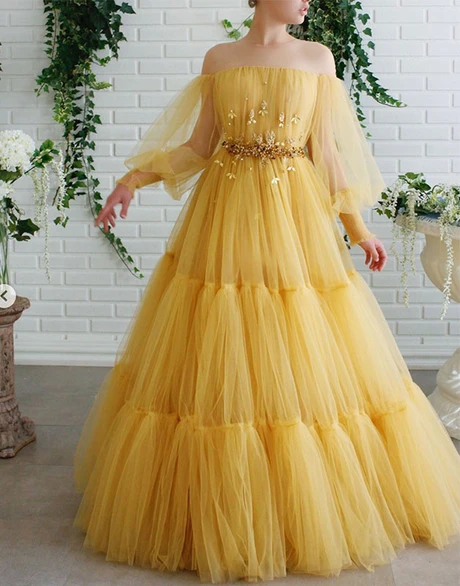 A-line Off-the-shoulder Yellow Tulle Long Prom Dresses Evening Dress WEK125