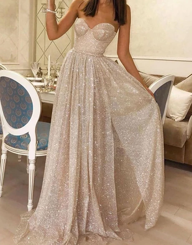 A-line Sweetheart Sparkly Long Prom Dresses Sequins Evening Dress WEK126