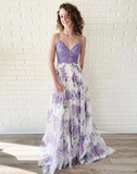 A-line Spaghetti Straps Lace Long Prom Dresses Lilac Evening Dress WEK134
