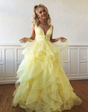 A-line V neck Yellow Long Prom Dresses Tulle Evening Dress WEK135