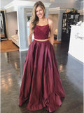 Two Pieces A-line Burgundy Lace Long Prom Dresses Taffeta Evening Dress WEK141