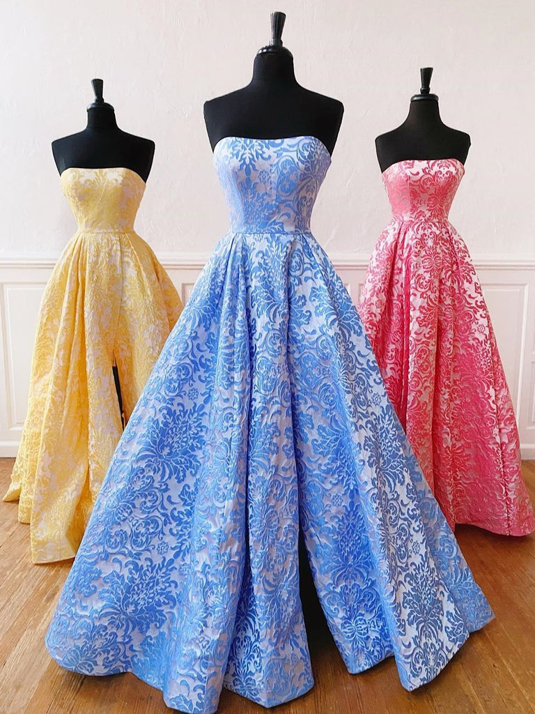 A-line Strapless Blue Long Prom Dresses Print Unique Evening Dress WEK143