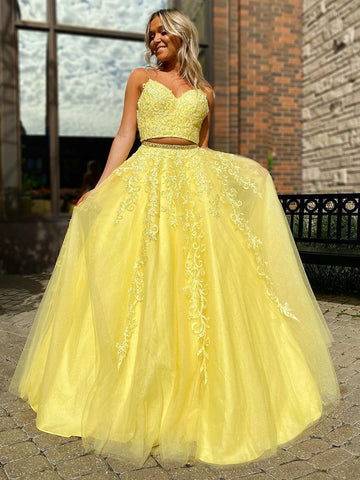 A-line Two Pieces Yellow Long Prom Dresses Beading Evening Dress WEK147