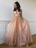 A-line V neck Pink Long Prom Dresses Lace Evening Dress WEK150