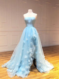 A-line Strapless Light Sky BLue Long Prom Dresses Cheap Evening Dress WEK151