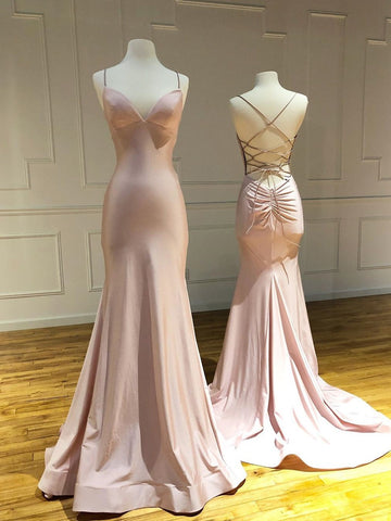 Trumpet/Mermaid Spaghetti Straps Pink Long Prom Dresses Sexy Evening Dress WEK152