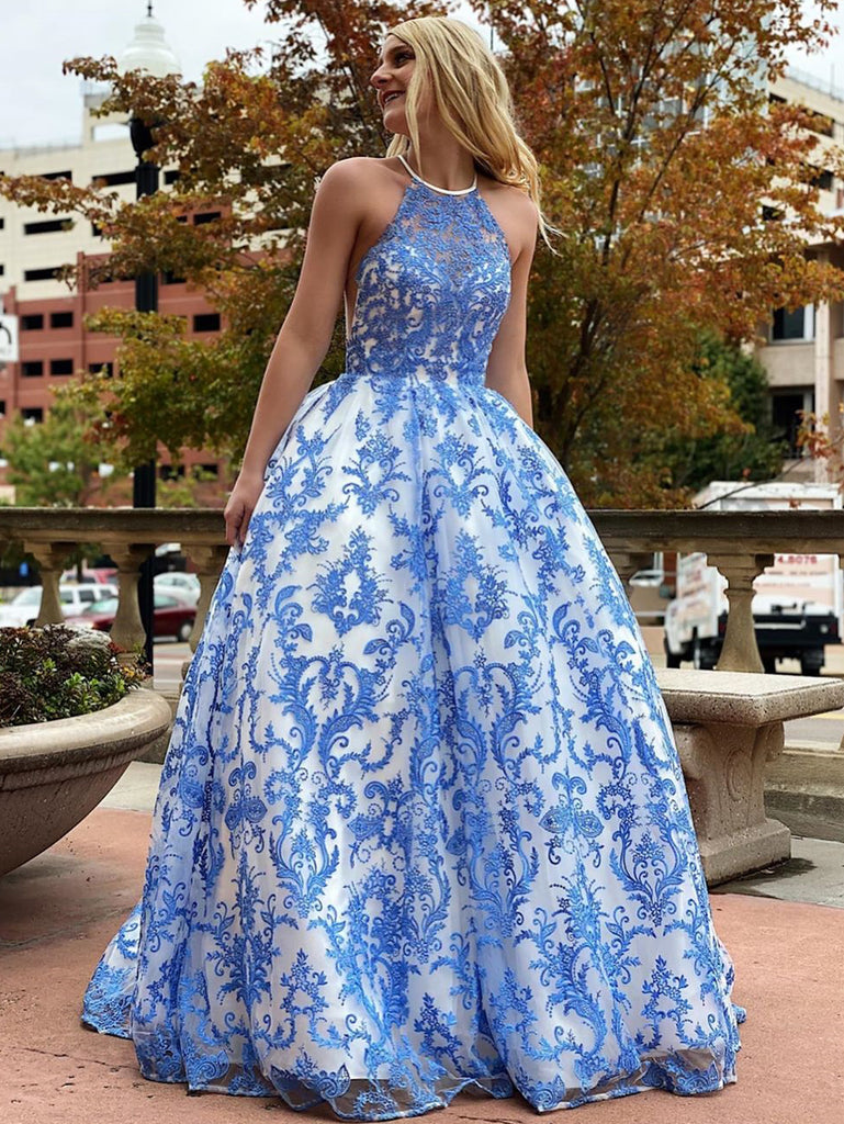 A-line Scoop Royal Blue Modest Cheap Long Prom Dresses Evening Dress WEK157