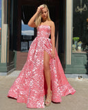A-line Strapless Pink Modest Cheap Long Prom Dresses Unique Evening Dress WEK158