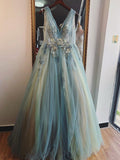 A-line V neck Ombre Blue Long Prom Dresses Beautiful Applique Evening Dress WEK165