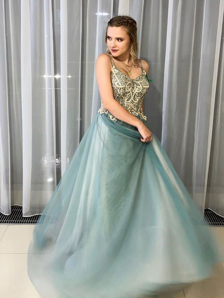 A-line Spaghetti Straps Beaded Long Prom Dresses Tulle Evening Dress WEK167